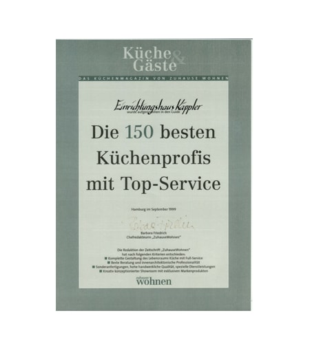 Käppler Urkunde Die 150 besten Küchenprofis