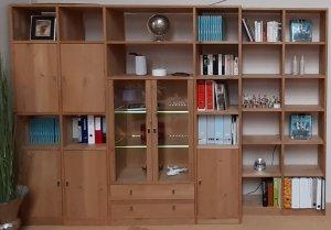 Wohnwand Bibliothek Arbeitszimmer Eiche massiv bianco geölt